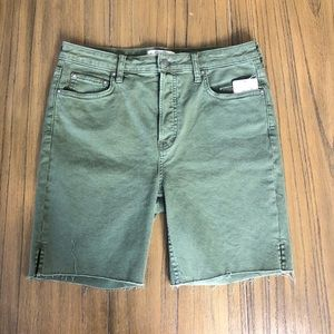 We The Free high rise Bermuda army green shorts